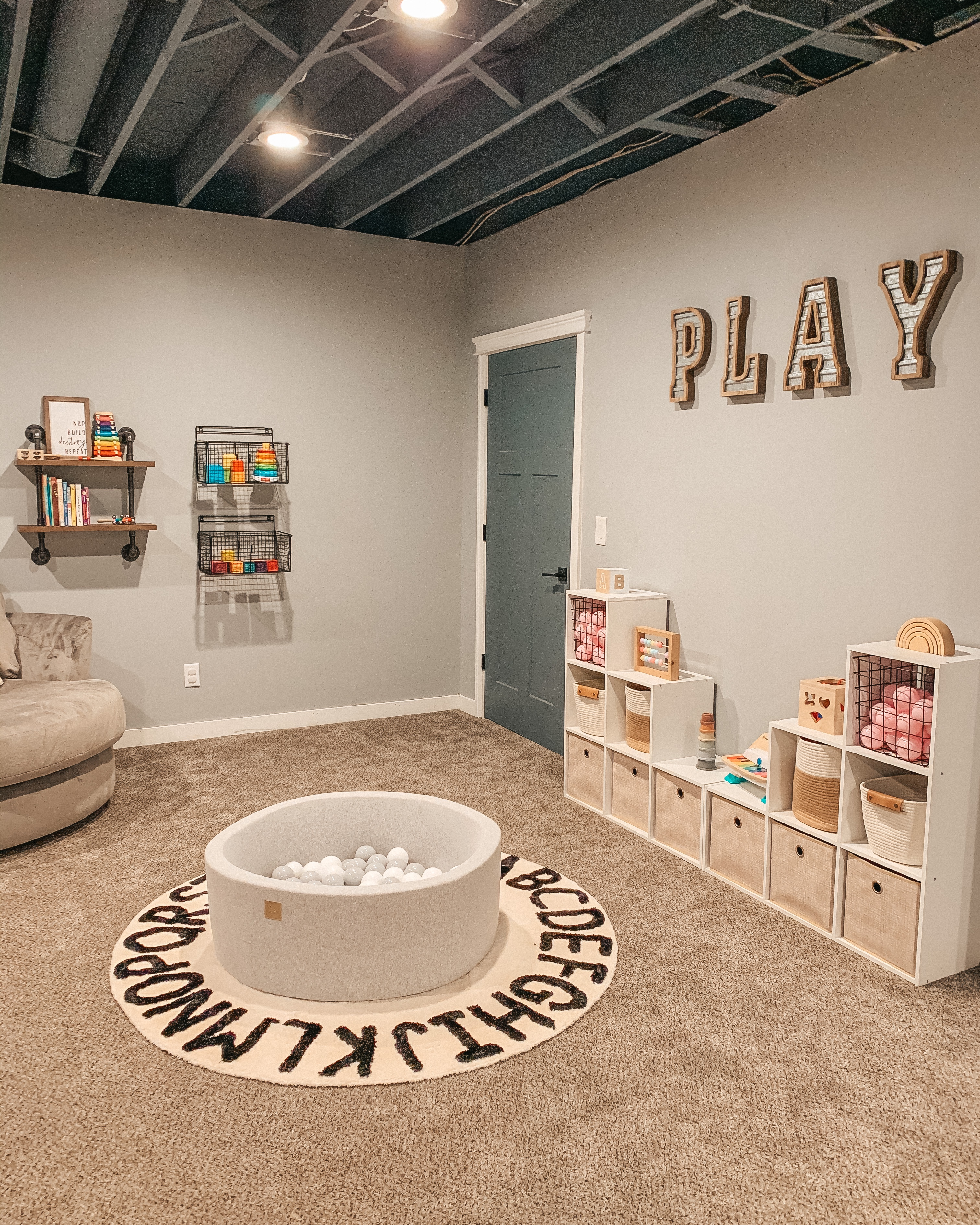 Modern farmhouse basement playroom